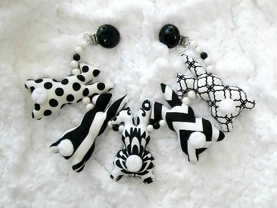 Black & white stroller chain, bunny stroller toy, pram chain, black and white stroller, Baby shower gift, Gift for baby. Newborn sensory toy