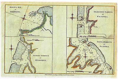 Cook's Map -1774- TAHITI & SOCIETY ISLAND MAPS - Hand-Colored