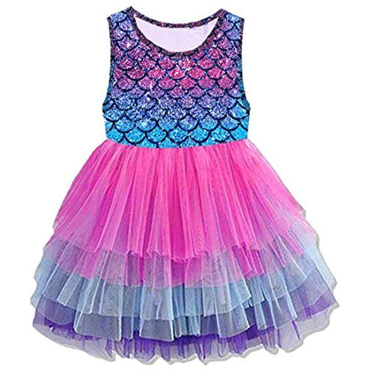 VIKITA Mädchen Kleider Sommerkleid Blume Baumwolle Lässig Kinder & # 39; Kleidung Gr. …   – Mädchen