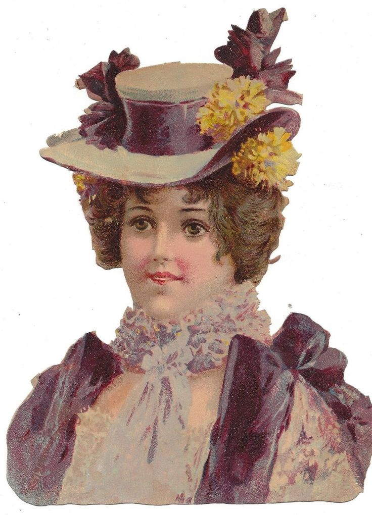Victorian Die Cut Scrap Lady in Lace and Purple picclick.com