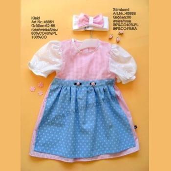 Baby-Dirndl rosa/bleu Gr. 80