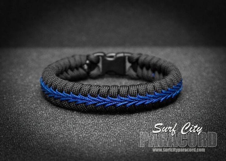 Police Thin Blue Line Stitched Fishtail Paracord Bracelet. – Surf City Paracord, Inc