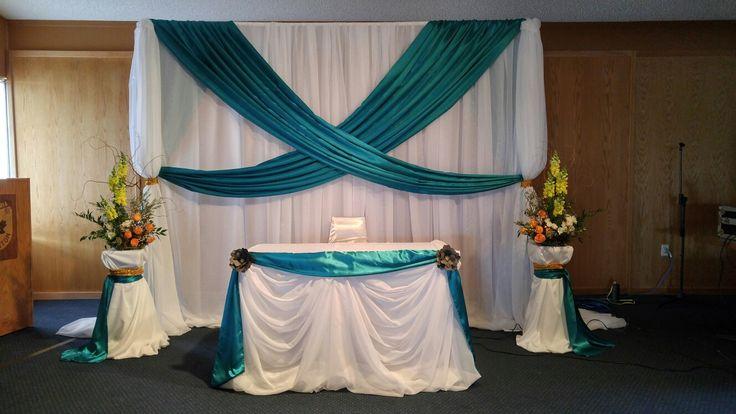 Wedding ceremony decor by Lasting Love Decor & Design www.lastinglove.ca #weddingceremony #tealweddingdecor #weddingbackdrops #lastinglovedecoranddesign