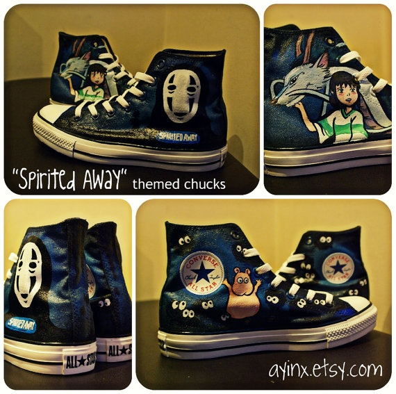 I WANT!!!!  Custom Painted Fan art on Hi tops  Anime  themed by AyinX on Etsy, $135.00