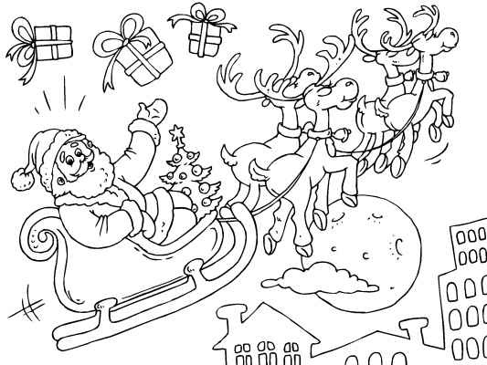 santa and his flying reindeer more free christmas coloring pages here http - Santa Reindeer Coloring Pages