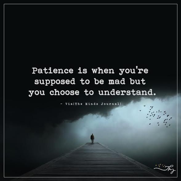 Patience is when you're supposed to be mad but you choose to understand. - http://themindsjournal.com/patience-is-when-youre-supposed-to-be-mad-but-you-choose-to-understand/