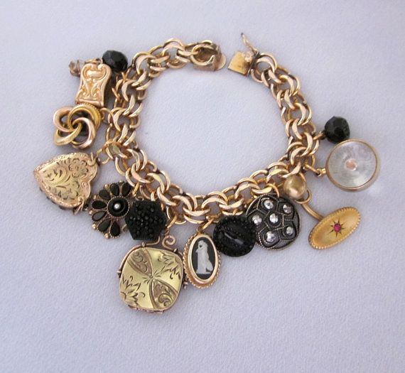 Repurposed antique victorian charm bracelet gold filled for Repurposed vintage jewelry designers