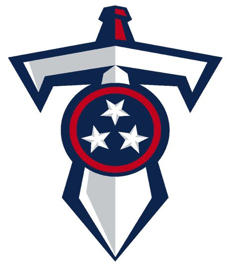 Tennessee Titans Logo - Silver and white T-Sword under Tennesse shield outlined in navy (SportsLogos.Net)