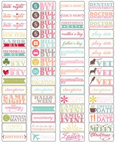 Printable stickers to use on your calendar!