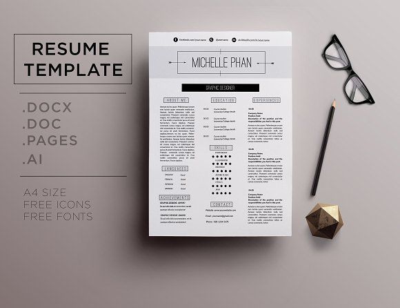 modern resume template minimal design cover by chictemplates