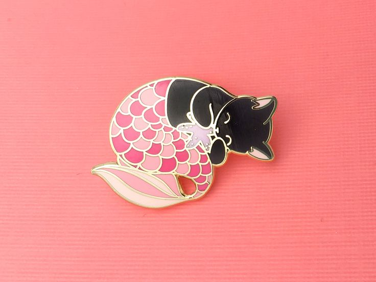 Pink purrmaid enamel pin (mermaid cat hard enamel pin lapel pin badge jewelry cute mermaid jewelry black cat pin cloisonne backpack pins) by OhPlesiosaur on Etsy https://www.etsy.com/listing/494129000/pink-purrmaid-enamel-pin-mermaid-cat