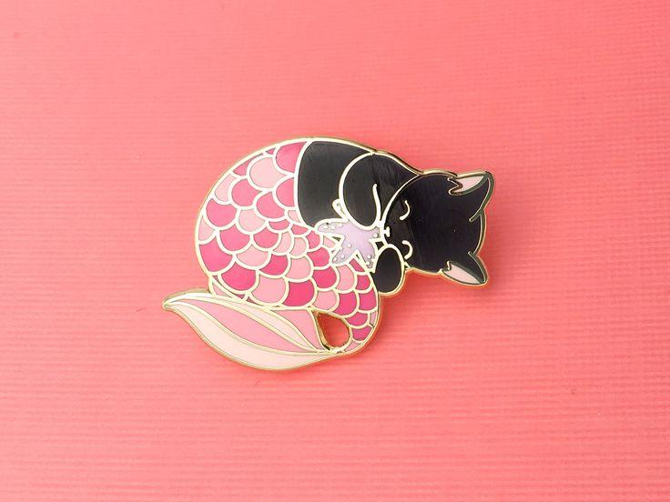Pink purrmaid enamel pin (mermaid cat hard enamel pin lapel pin badge jewelry cute mermaid jewelry black cat pin cloisonne backpack pins) by OhPlesiosaur on Etsy https://www.etsy.com/au/listing/494129000/pink-purrmaid-enamel-pin-mermaid-cat