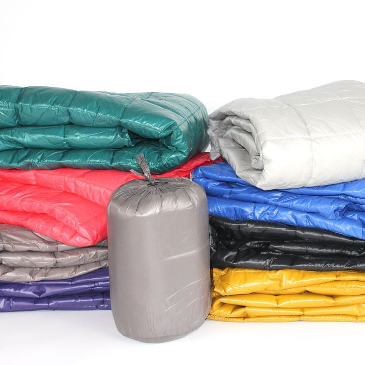 """50"""" x 60"""" Puff Ultra Light Indoor/Outdoor Nylon Throw with Compact Travel Bag, Electric Blue"""