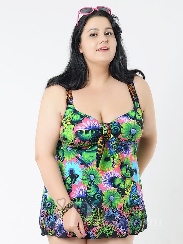 Green Flower Conservative Colorful Printed High Elasticity Plus Size Swimsuit With Little Skirt Lidyy1605241070