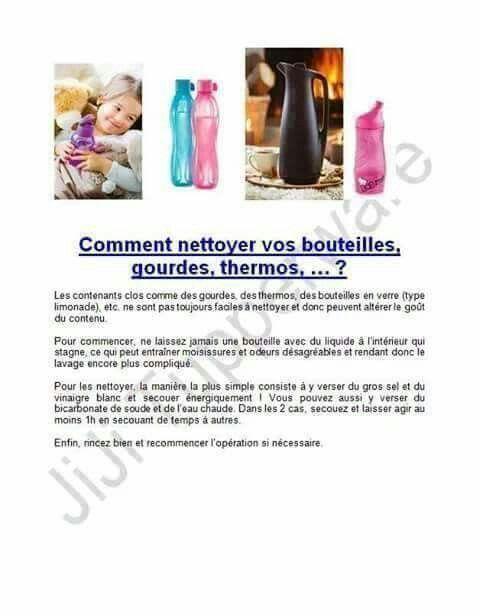 Tupperware - comment nettoyer les bouteilles?