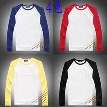 Branco de manga comprida t-shirt manga raglan masculino o-pescoço camisa tela de transferência de calor de impressão de algodão penteado grátis frete(China (Mainland))