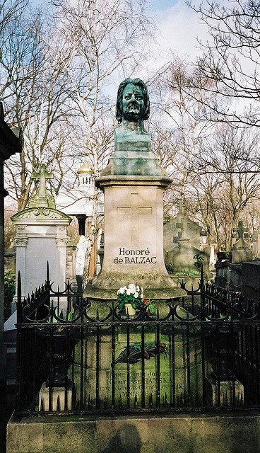 Honoré de Balzac's Grave, Pere Lachaise Cemetery, Paris. Considered one of the most beautiful cemeteries in the world. Chopin, Oscar Wilde, Jim Morrison and Edith Piaf are among many buried here.