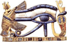 Eye of Horus  Made of gold and inlaid lapis, this piece was a pectoral amulet, worn around the neck.