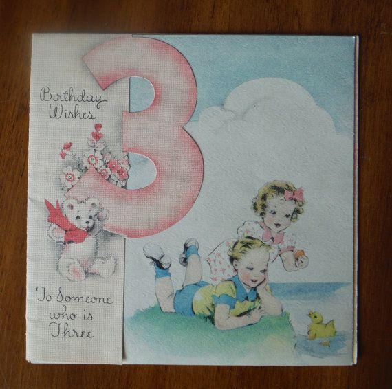 Items Similar To 1947 Birthday Trivia Game: Vintage 1940's Happy Third Birthday Card