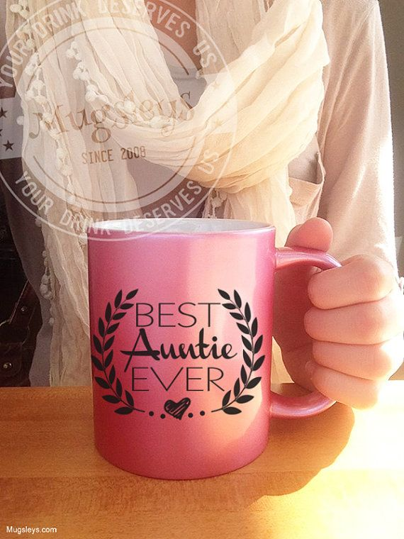 Aunt Gifts Pink Metallic Best Aunt Ever Coffee Mug 11 by Mugsleys