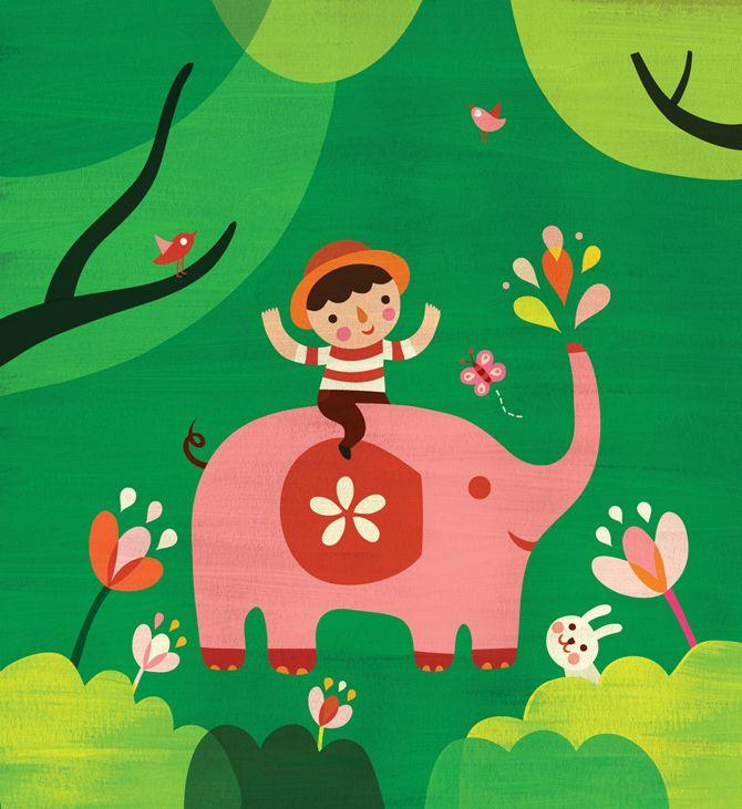 Hsinping Pan elephant and boy illustration for Ladybug Magazine