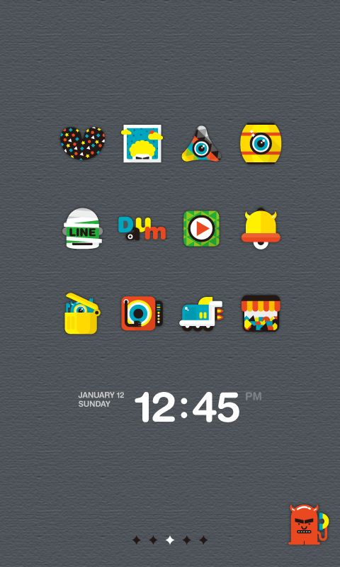 """""""Colorful Monster"""" Dodol Launcher Theme for Android"""