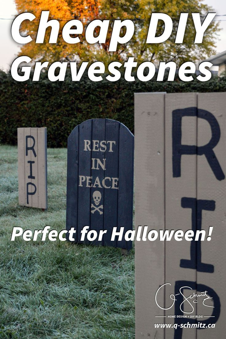 Here is my handy tutorial on how to make easy, cheap DIY gravestones that  are