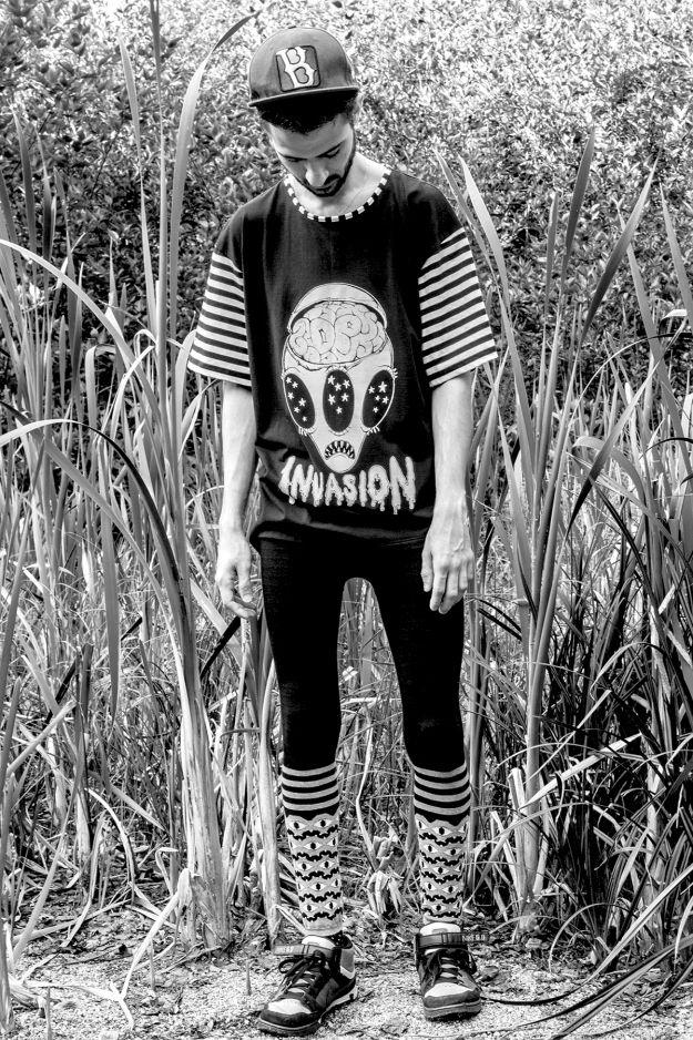 Daniel Palillo SS/13 Invasion Print Tee and Aw/13 Multi Eyes Knit Leggins