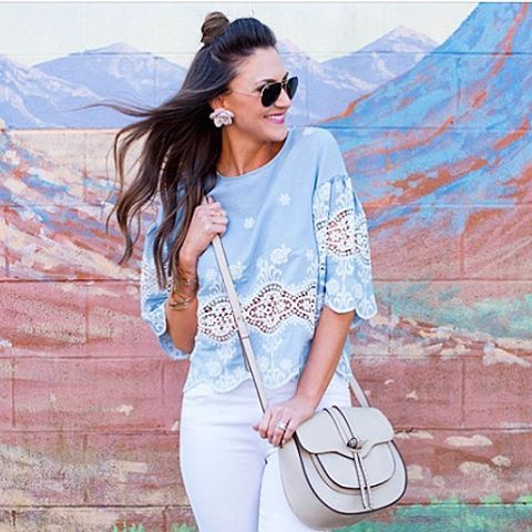 Denim and lace retro smock top. Love this summer top. Pair with white or black jeans/shorts.