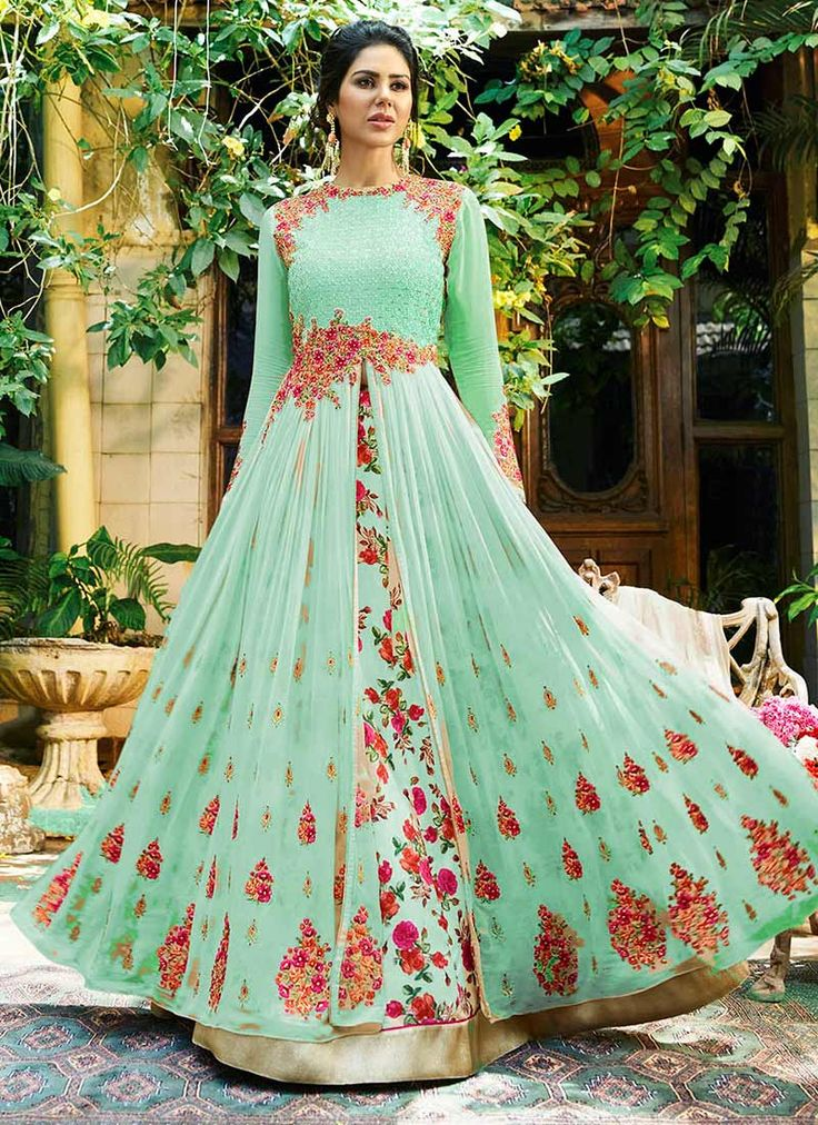 Buy Sea Green Georgette Anarkali Lehenga online, SKU Code: GHSANB501D. This Green color Party umbrella lehenga for Women comes with Embroidered Faux Georgette. Shop Now!