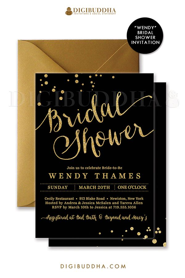 383 best digibuddha bridal shower invitations images on pinterest chic and elegant black and gold bridal shower invitations with modern calligraphy script gold glitter filmwisefo