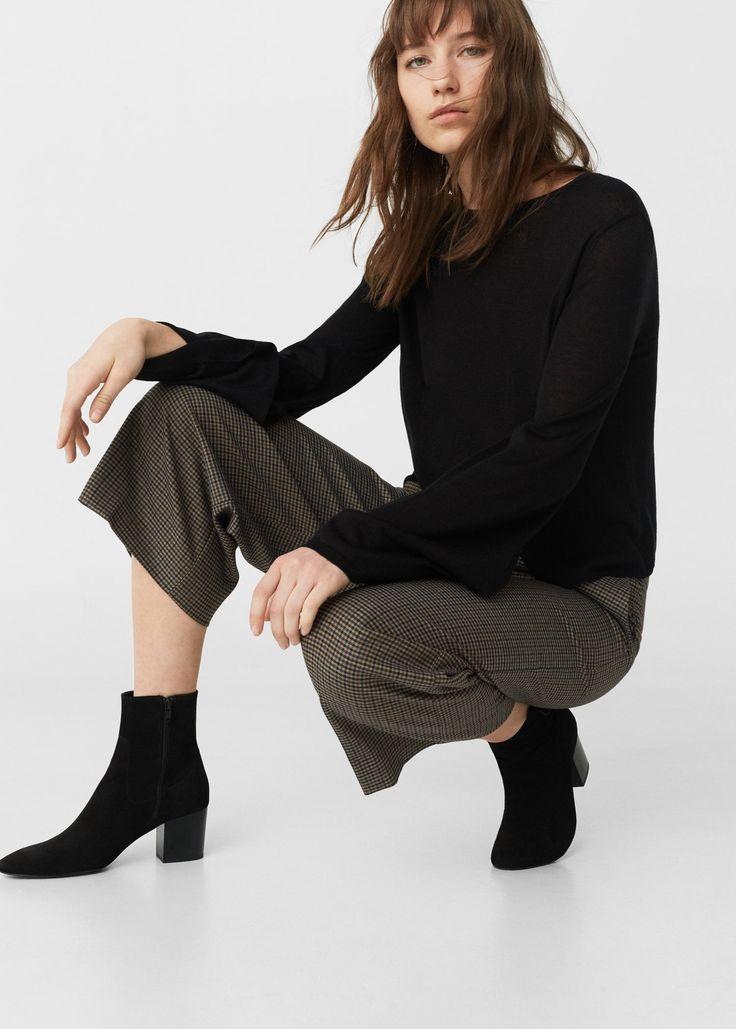 Кожаные ботинки с молнией - Обувь - Женская | MANGO МАНГО Россия (Российская Федерация)