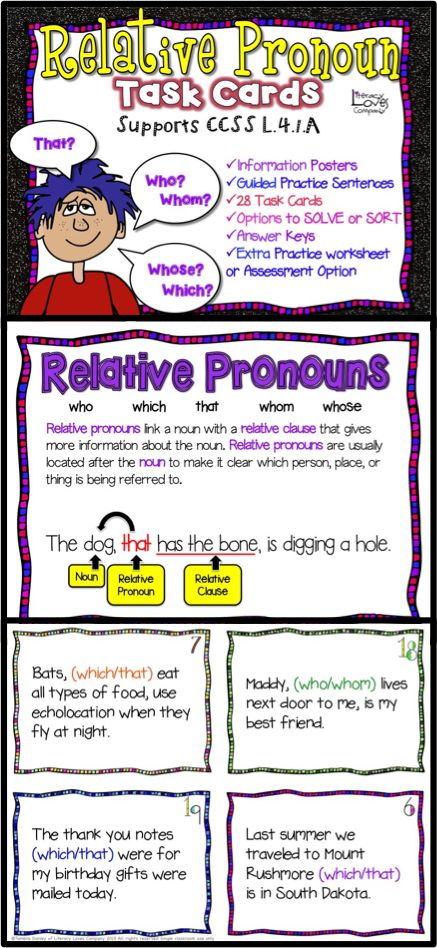 This Relative Pronoun Task Card resource has everything you need to teach your students about relative pronouns! ★Introduce the concept with Information Posters. ★ Guided practice sentences to clarify and model. ★ Plenty of practice with 28 task cards ★Options for students to SORT or SOLVE each task card. ★Worksheet for homework practice or assessment. ★Answer keys included for both the SORT and SOLVE task card options as well as the included worksheet/assessment. $