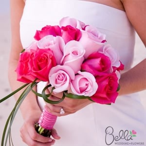 For bridesmaids Light pink and Hot Pink Roses & Ruscus Bridal Bouquet and Groom's Boutonniere
