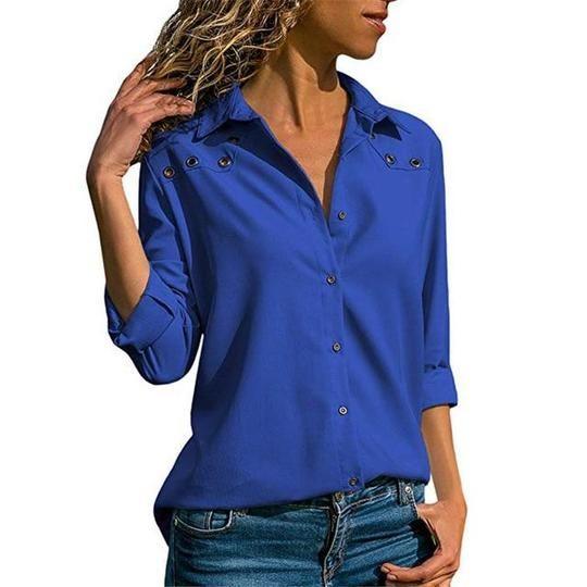 Autumn Women Long Sleeve Casual Blouse Button Down Blouses Shirt Elegantrricdress