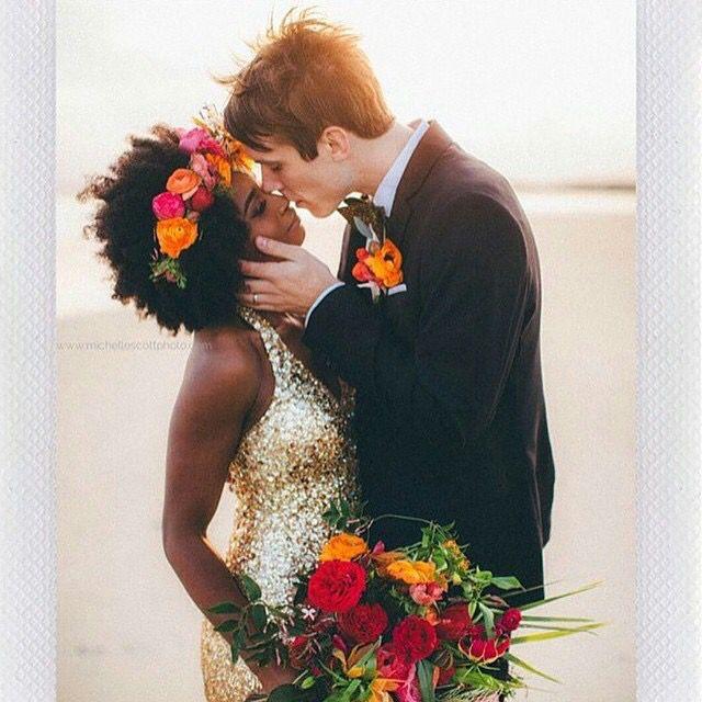 Beautiful bride and dress  interracial wedding
