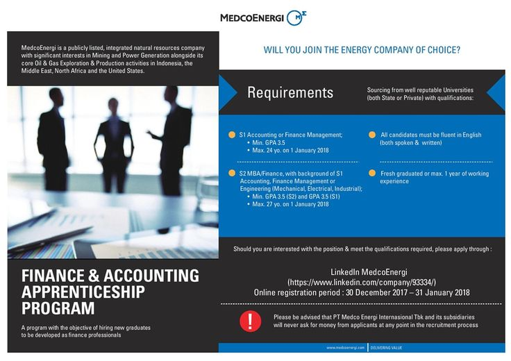 Medco E & P Indonesia is HIRING for Finance & Accounting Apprenticeship Program with Bachelor or Master Degree >> http://bit.ly/2lJf5aK   DEADLINE: 31 January 2018 #itbcc #karirITB #ITBcareer
