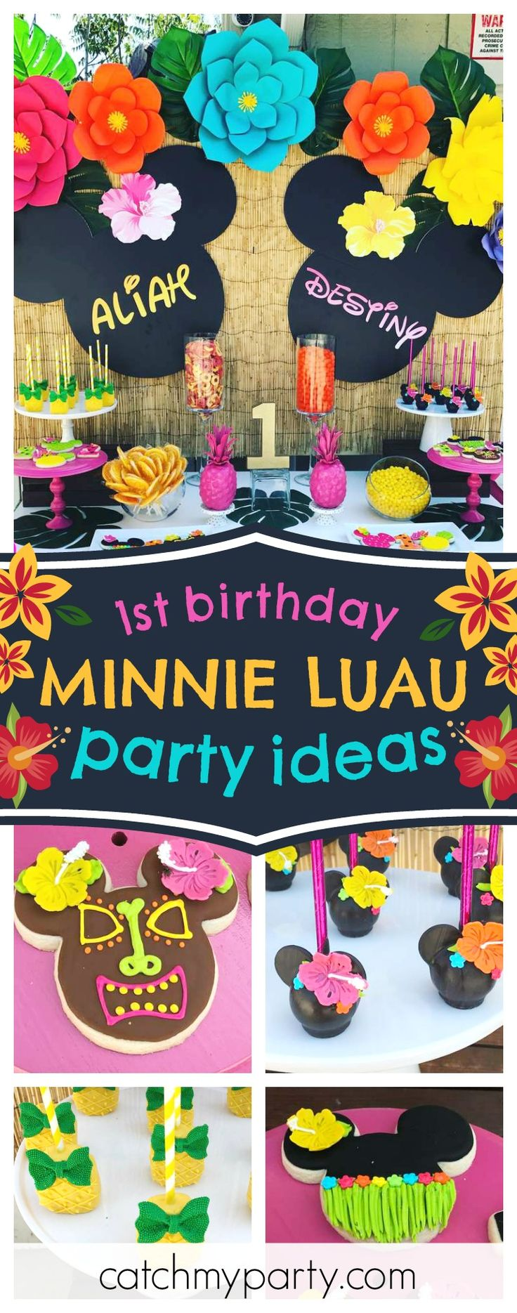 Check out this gorgeous tropical Minnie Luau 1st birthday party! The cake pops are so cute!! See more party ideas and share yours at CatchMyParty.com #minnie #luau