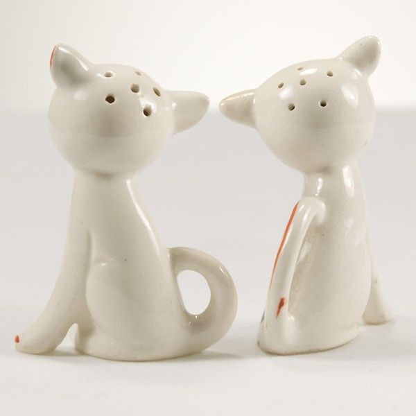 """Cat Couple"" salt & pepper shaker set, Produced in Occupied Japan, are marked ""Japan"" on the bottom and come with cork stoppers. At approximately 3 inches tall"