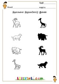 Tamil Shadow Fun Worksheets,Printable and Downloadable Worksheets,Assessment Worksheets