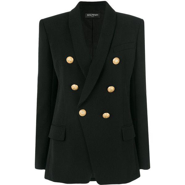 Balmain button-embellished blazer (10.665 RON) ❤ liked on Polyvore featuring outerwear, jackets, blazers, black, long blazer jacket, tailored jacket, long sleeve jacket, blazer jacket and shawl collar blazer