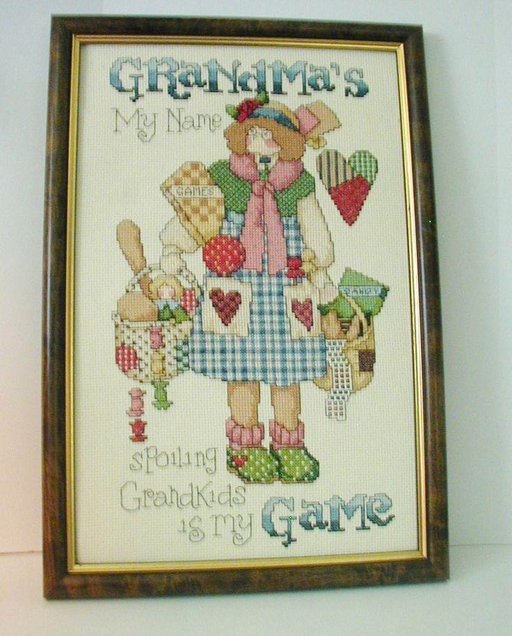 Framed Counted Cross Stitch Grandmas my name Jeremiah Junction #8820 Grandkids  #JeremiahJunction