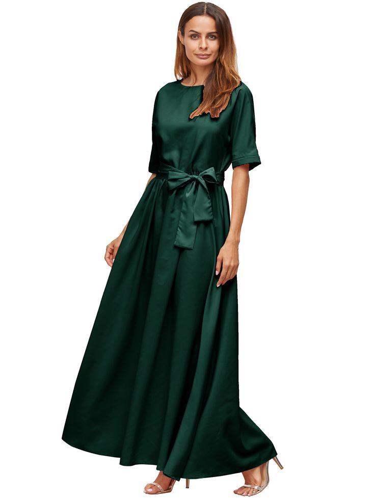 Detalle delantero de color verde oscuro, vestido maxi-Spanish SheIn(Sheinside)