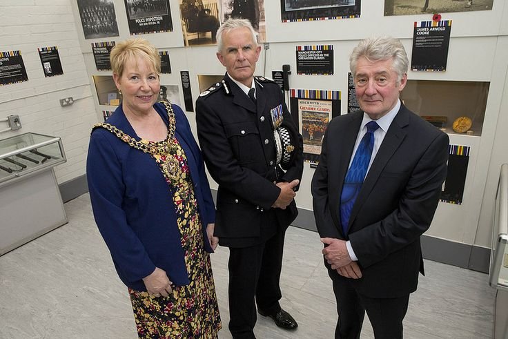 Tony Lloyd - Police and Crime commissioner for Greater Manchester, Cllr Susan Cooley - Lord Mayor of Manchester and Chief Constable Sir Peter Fahy open the exhibition. Greater Manchester Police is commemorating the centenary of the outbreak of World War One with a special exhibition at the GMP Force Museum. www.gmp.police.uk