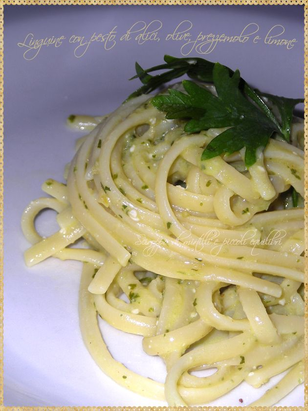 Linguine with pesto anchovies, olives, parsley and lemon