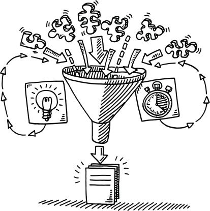 Hand-drawn vector drawing of a Funnel Workflow Concept