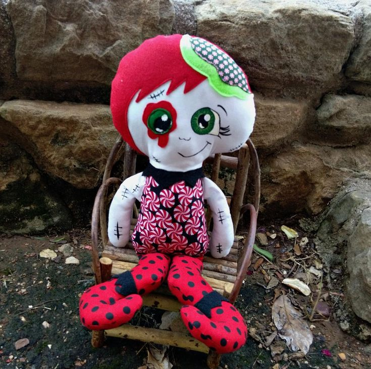 Zombie Christmas Elf , Cloth Doll, Handmade, Large Size by ZoesZooNZombies on Etsy