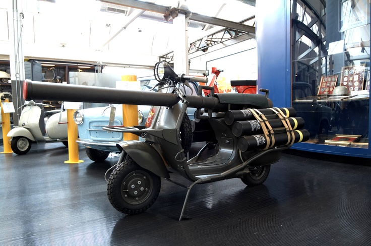 In the 1950s the French defence Ministry commissioned A.C.M.A., Piaggio's French licensee, to produce a vehicle for military use. The result was the very special Vespa 150 T.A.P. (Truppe Aero Portate – air troops carrier), of which about 600 units were produced from 1956 to 1959 at A.C.M.A.'s factory. Used by the Foreign Legion and French paratroopers, the Vespa T.A.P. could be parachuted, and had a 75mm cannon (without recoil), six rounds of ammunition and two fuel jerrycans