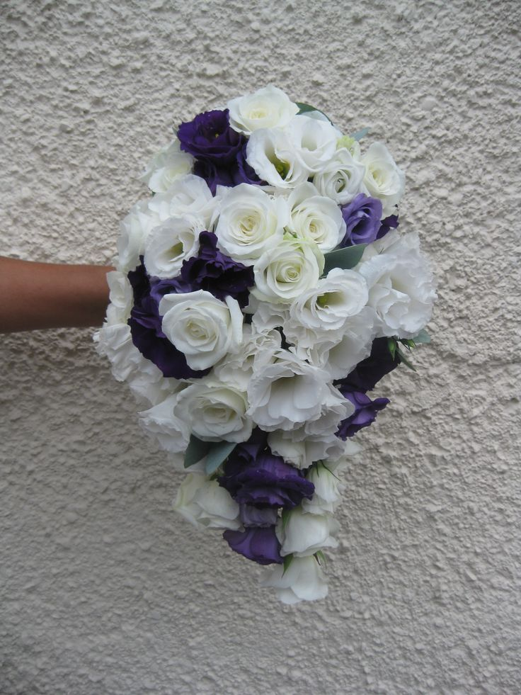 Purple and white lisianthus teardrop shape bouquet