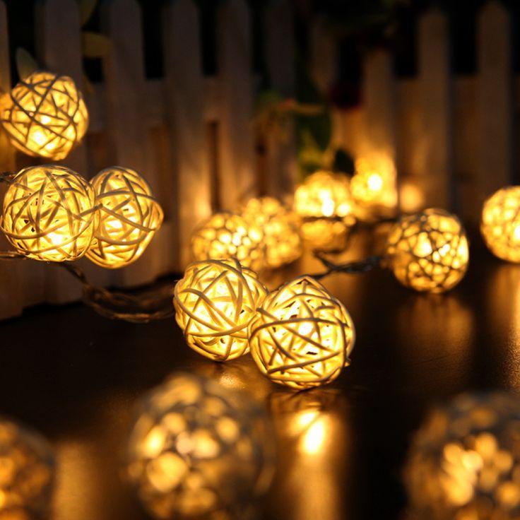 2 M 20 LED Branco/Branco Quente AC110V-125V Guirlandas Rattan Bola LED String Luzes De Natal para o Feriado Festa de Casamento
